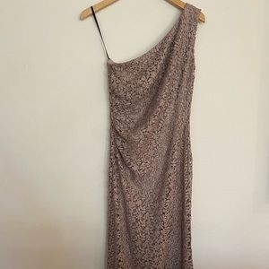 David Meister lace one shoulder maxi dress size 6